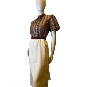 Vintage Union Made Belted Collared Dress Sz Small